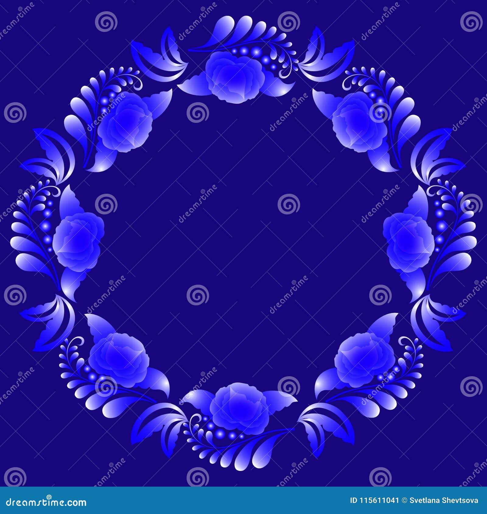 Dekorativ blom- krans i vita signaler för blått och på ett mörker - blå bakgrund
