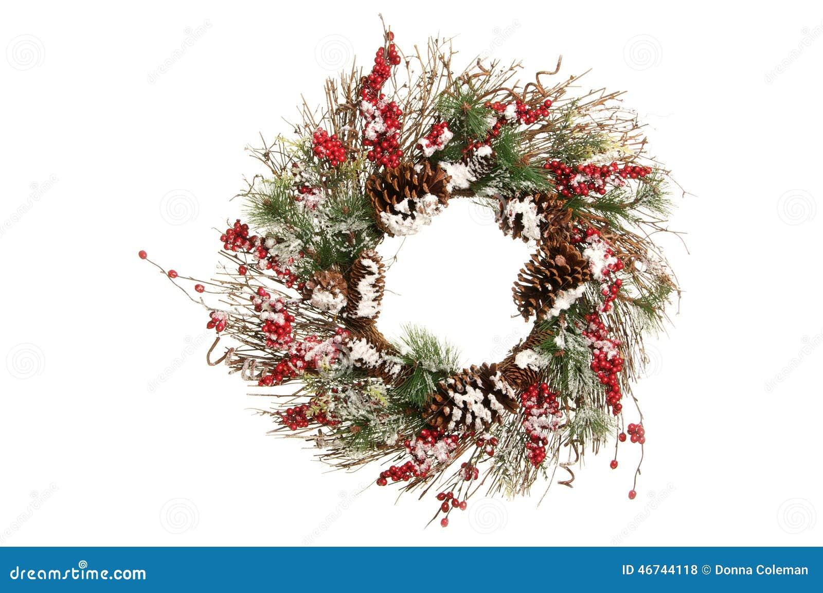 Dekorativ julkrans med filialer, gräsplaner och Holly Berries