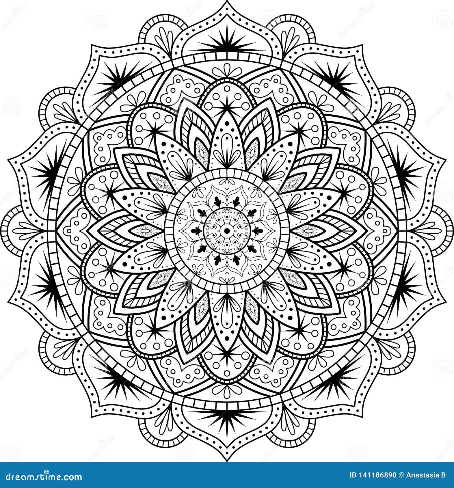 Dekorativ prydnad i etnisk orientalisk stil Rund modell i form av mandalaen för henna, Mehndi, tatuering, garnering