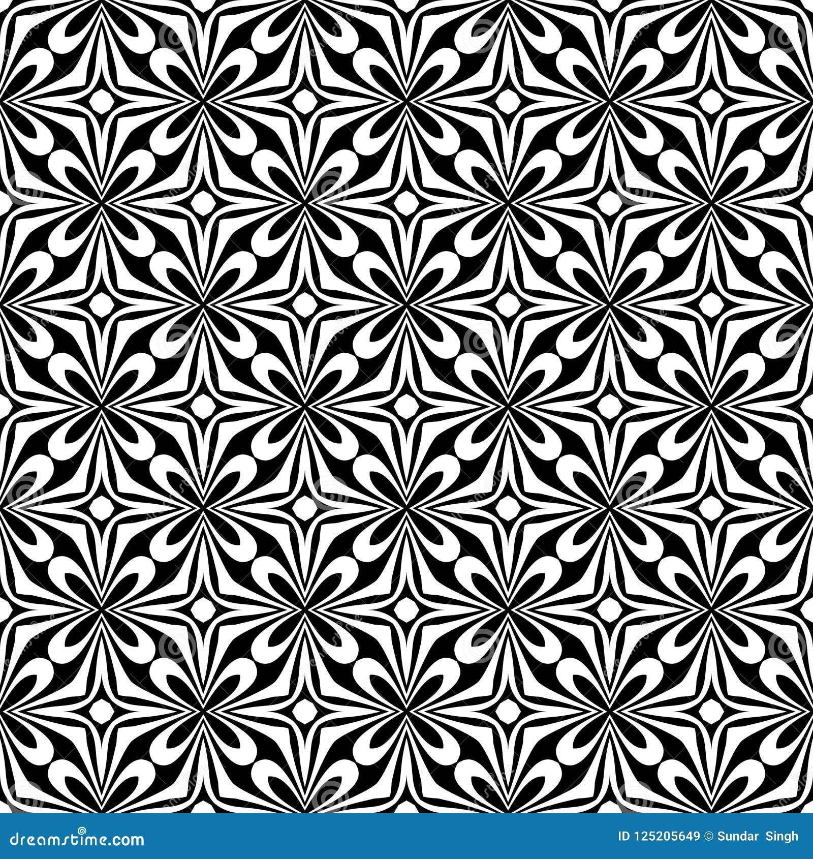 Dekorativ sömlös blom- diagonal geometrisk svart- & vitmodellbakgrund Invecklat material