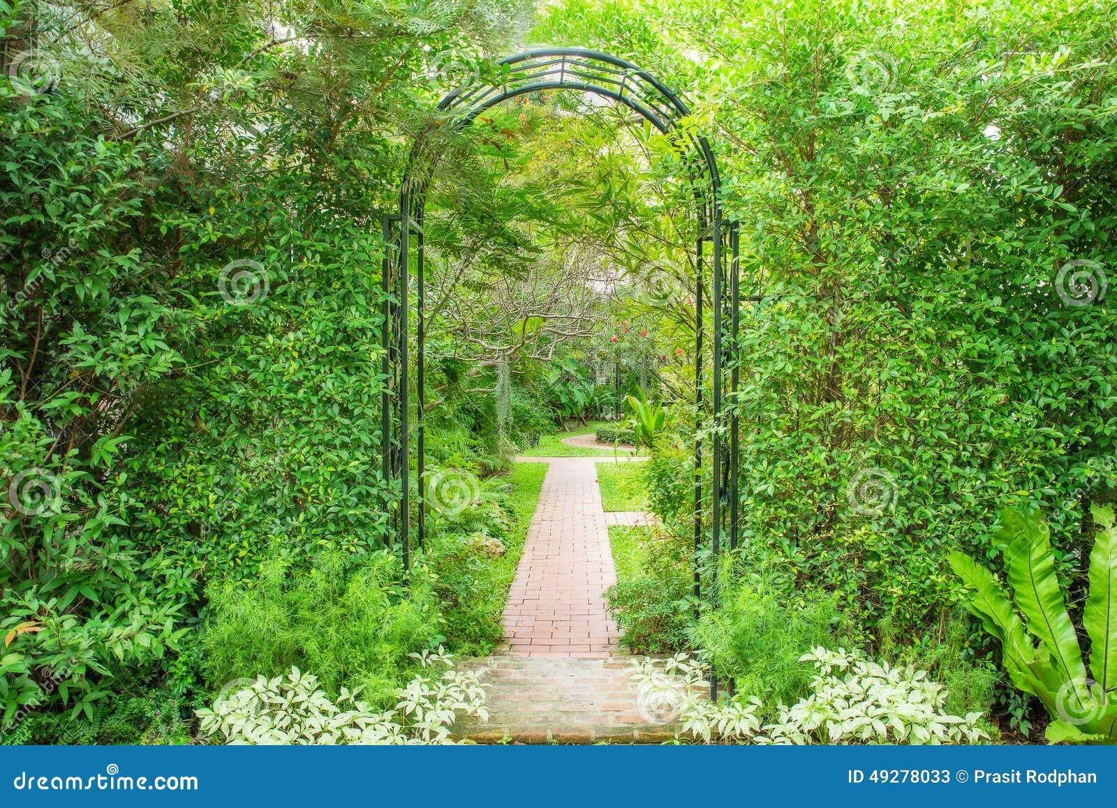 Dekorativ välvd järnnyckel till en trädgård