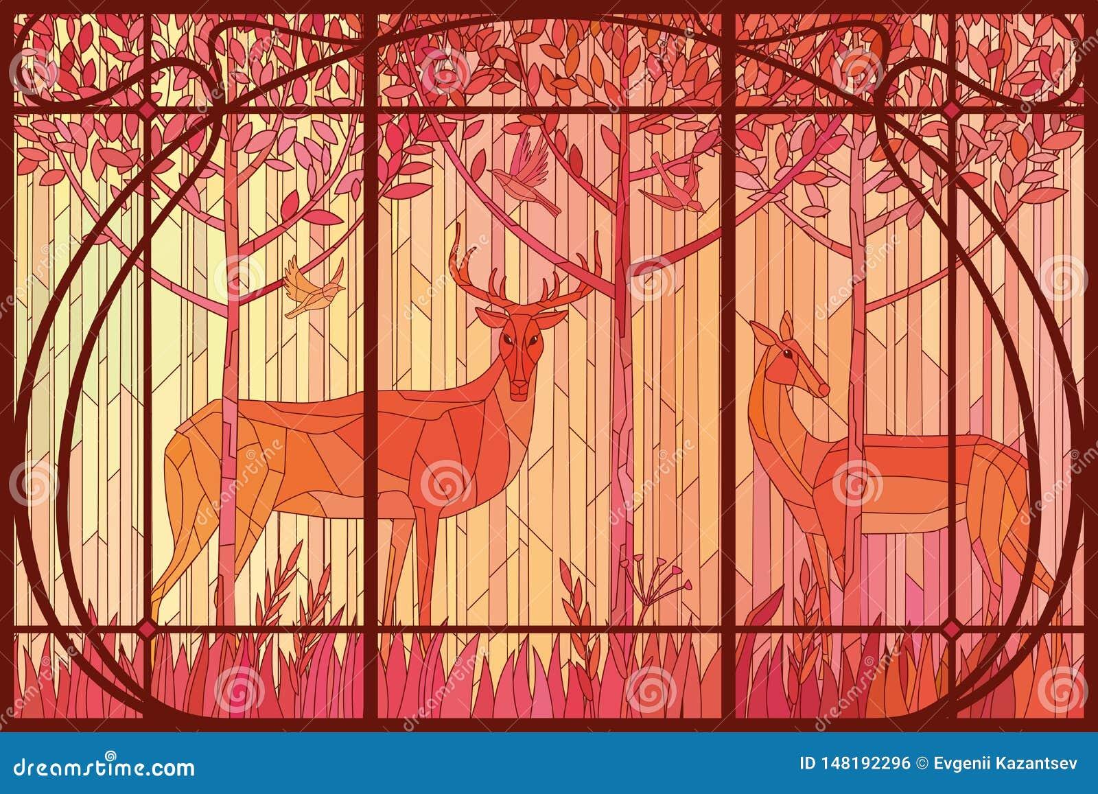 Dekorativa målat glasspar av hjortar i träna i den Art Nouveau ramen