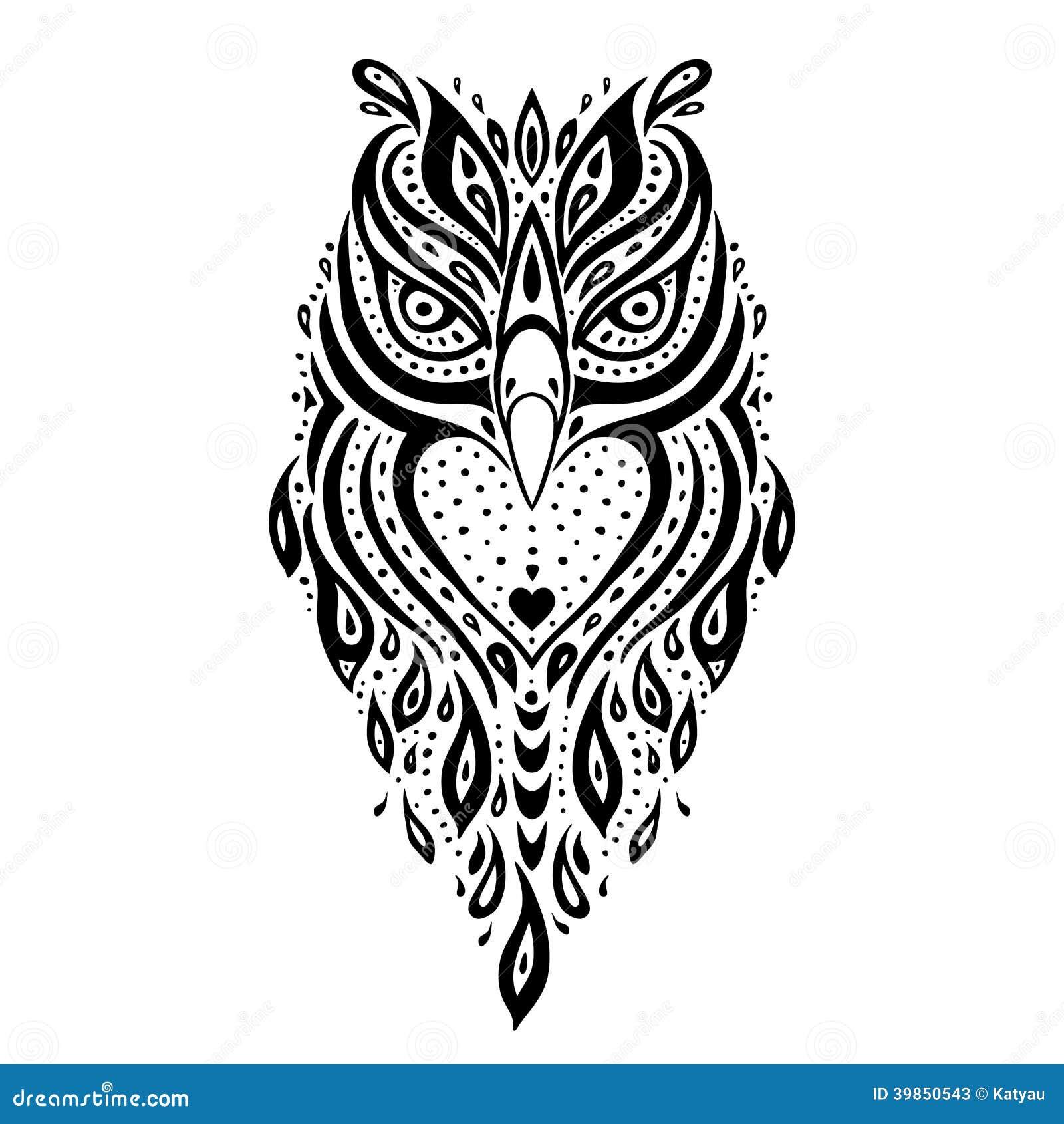 Dekorative Eule Ethnisches Muster Stock Abbildung