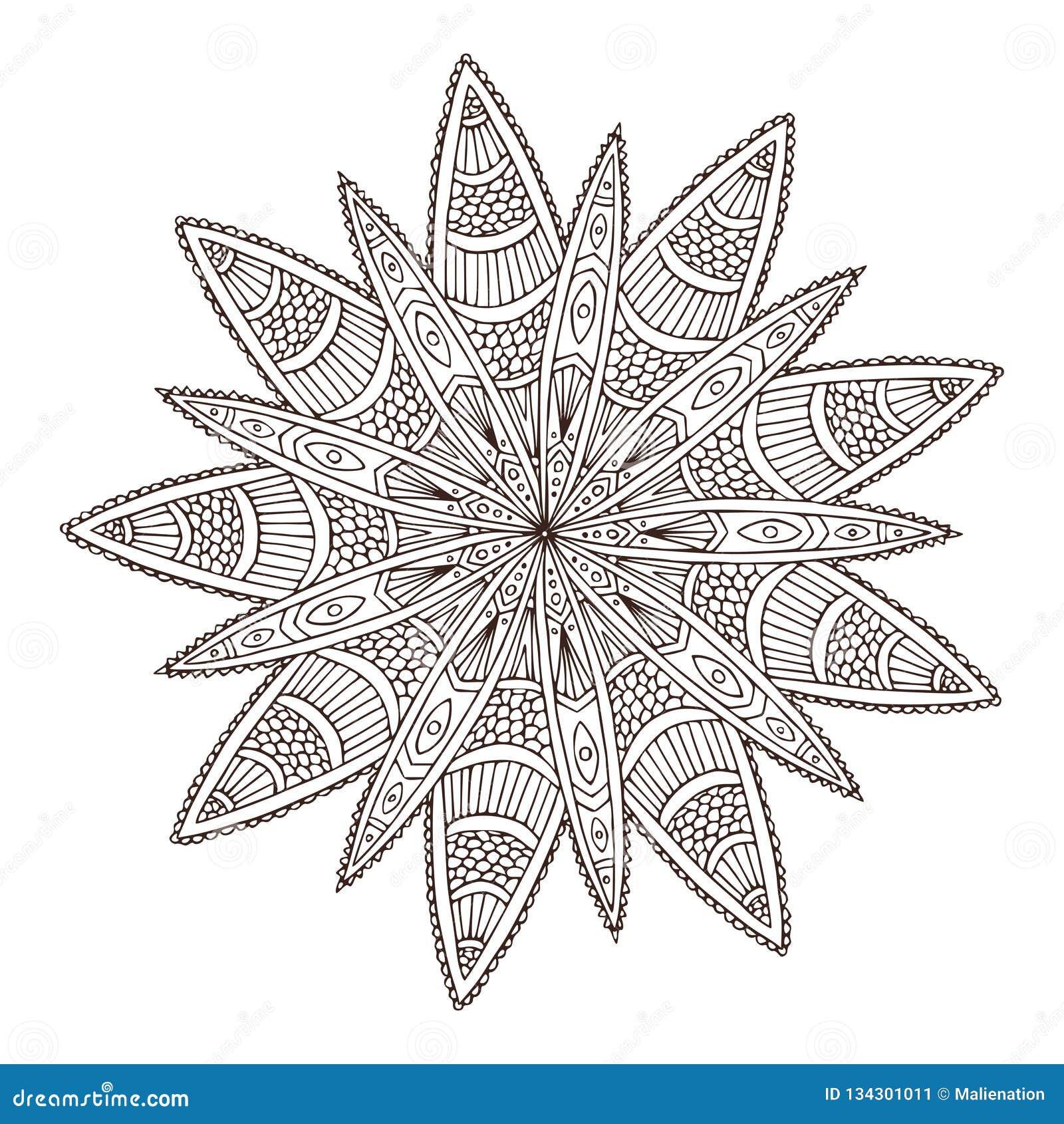 Dekorative geometrische Mandala Blumen-Tätowierungskunstentwurf Teppichverzierungsmuster Vektor für erwachsene Malbuchseite innen