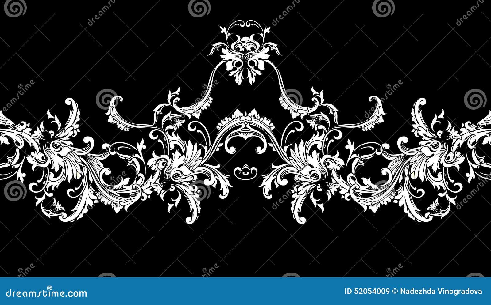 Dekorative Grenze Rahmen Barockes Muster Vektor Nahtlos Vektor