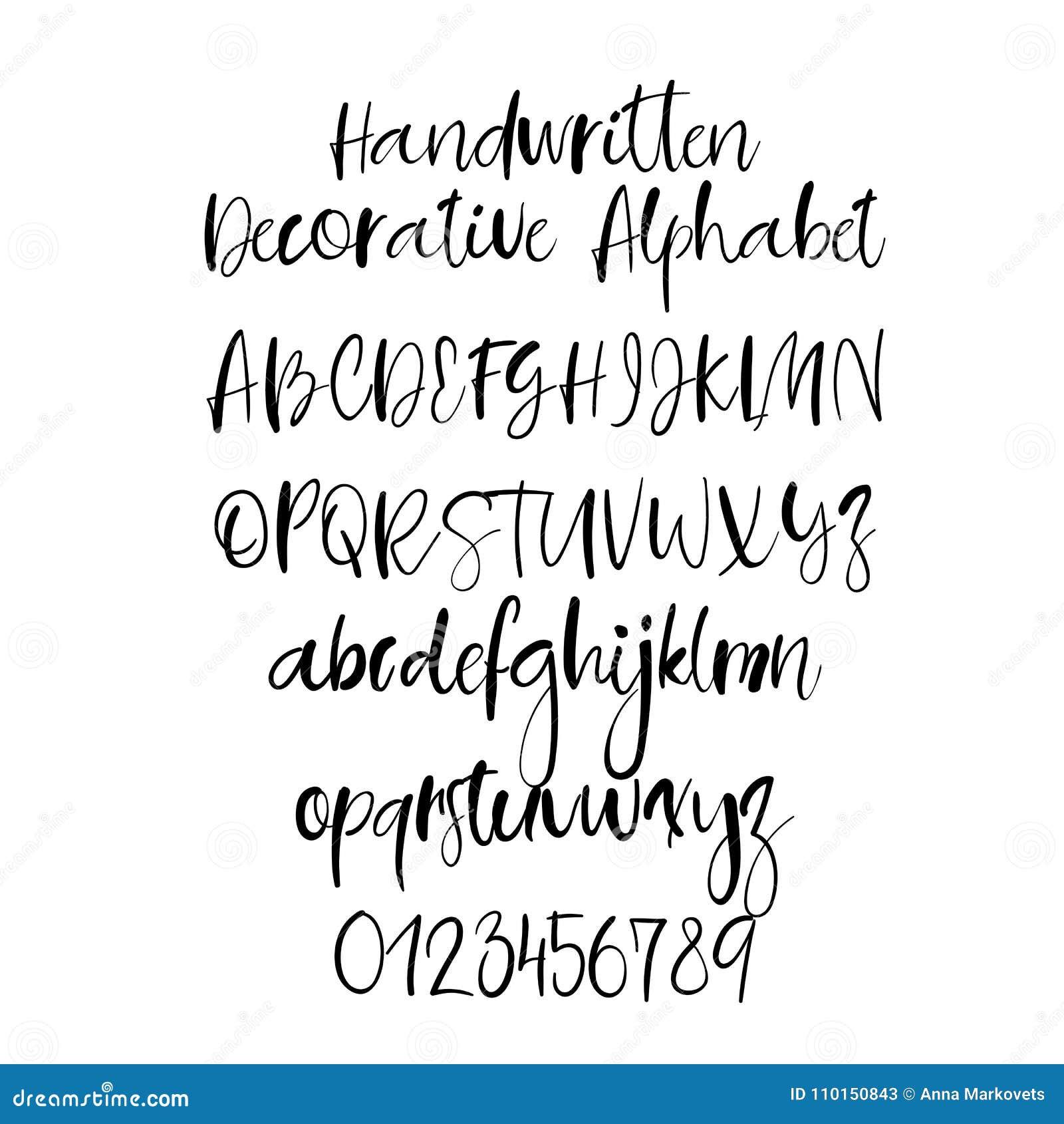 Dekorative Hand Gezeichnetes Alphabet Handgeschriebener Burstenguss
