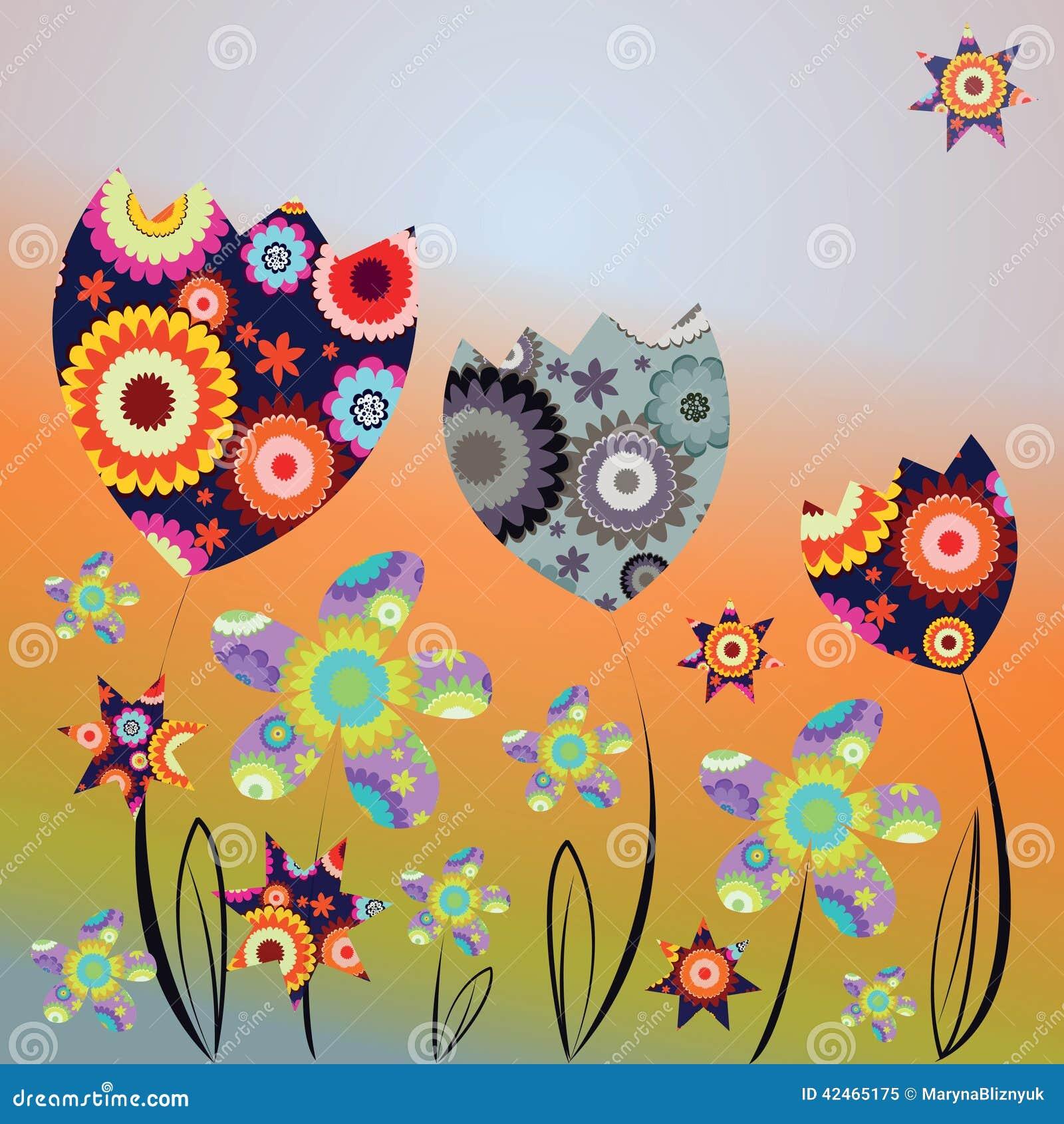 Dekorative Karte mit abstrakten Tulpen und Gänseblümchen