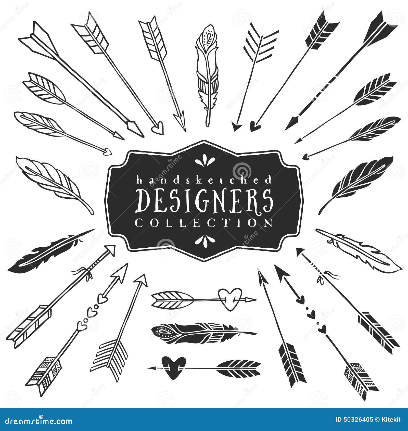 Dekorative Pfeil- und Federsammlung der Weinlese Hand gezeichnet
