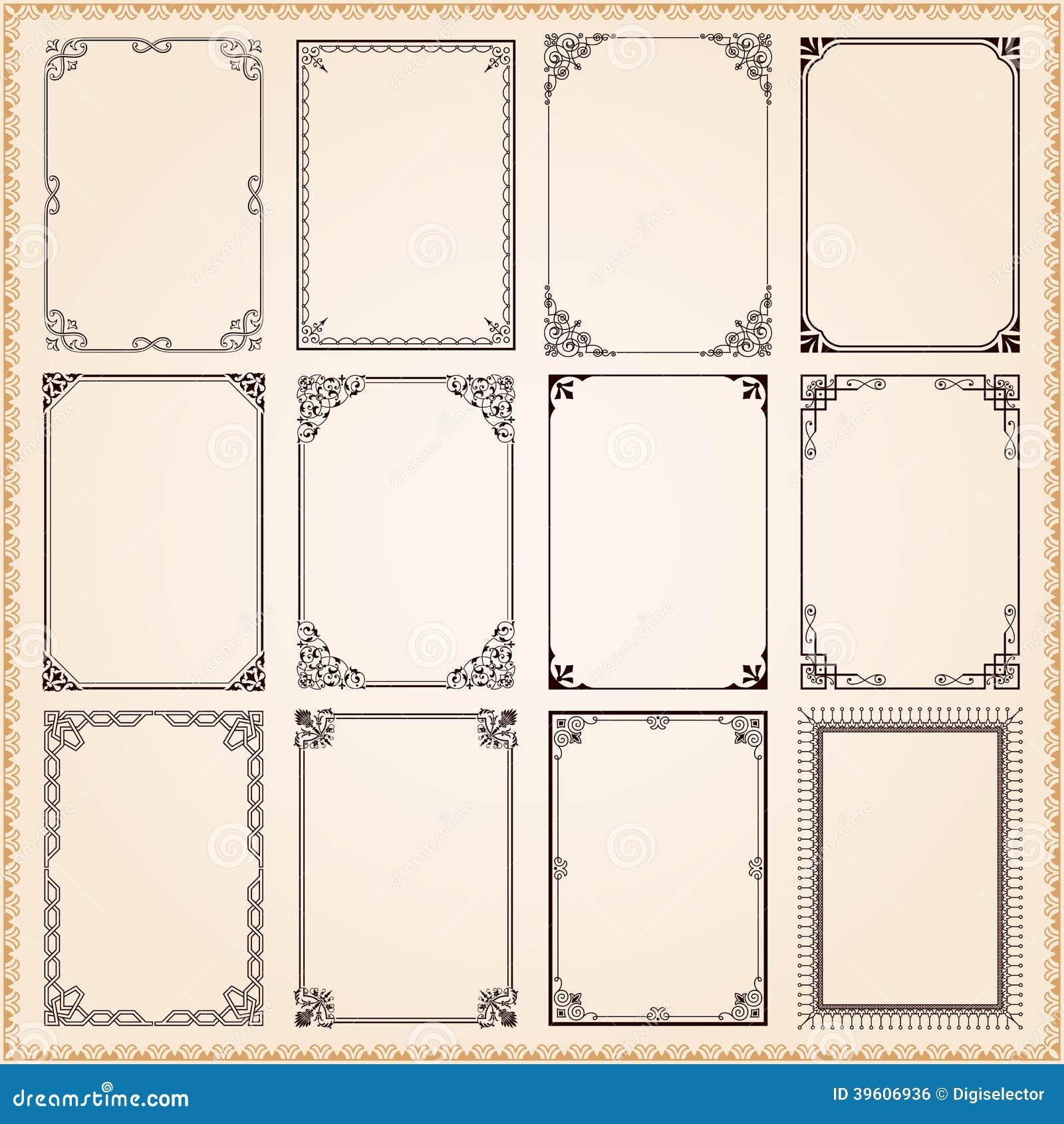 Dekorative Rahmen Und Grenzen Vektor Abbildung - Illustration von ...