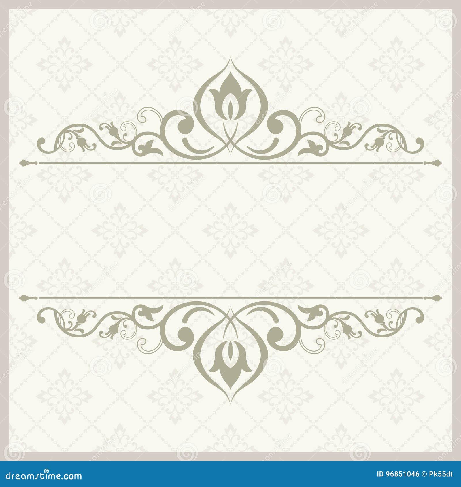 Dekorative Schablone Der Weinlese Mit Muster Und Dekorativem Rahmen