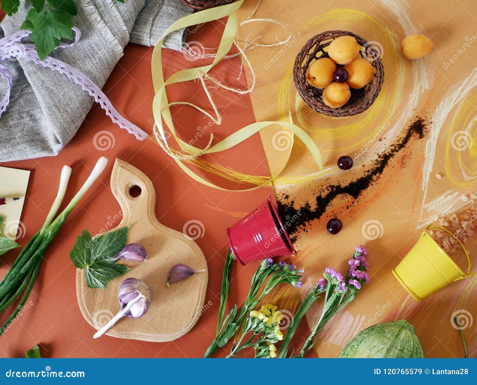Dekorative Zusammensetzung des Gemüses, der Grüns, der Gewürze, der Blumen und des Seesalzes auf dem orange Papier, gemalt mit Pa