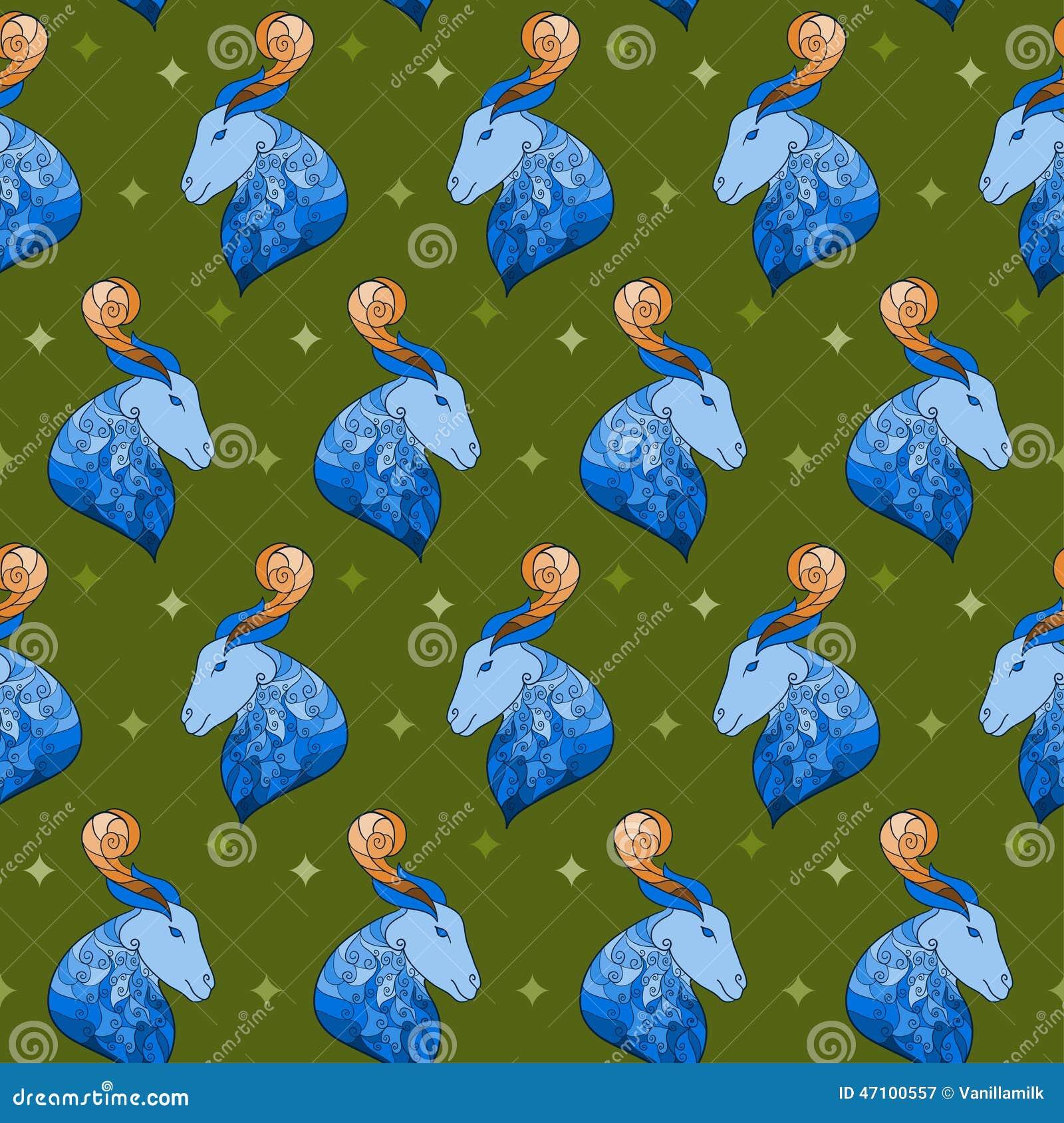 Dekorativer heller farbiger nahtloser Hintergrund der blauen Ziege