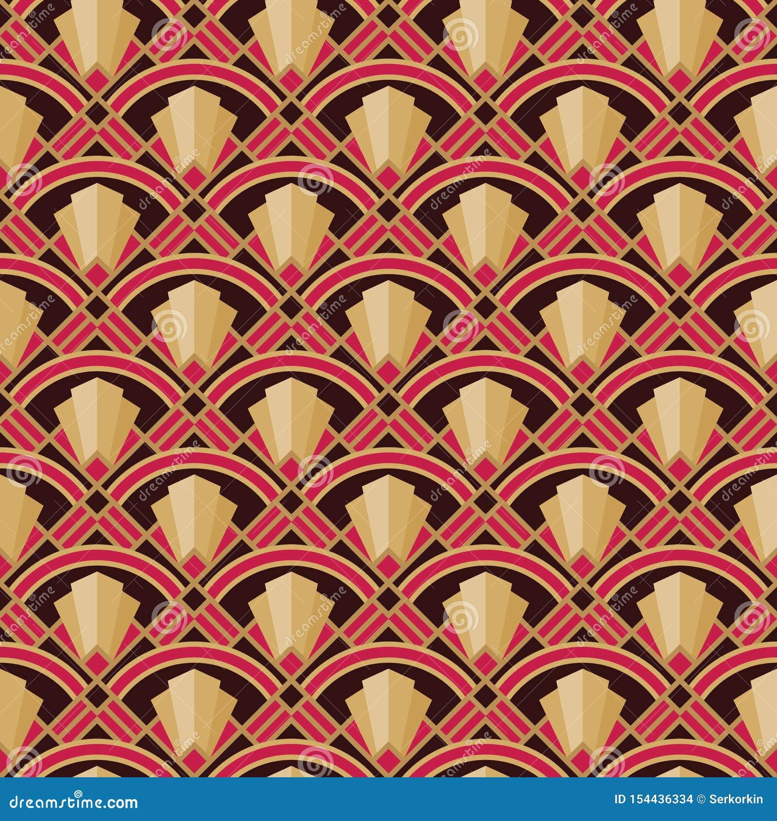 Dekorativer Hintergrund Art Nouveaus Abstraktes geometrisches nahtloses Muster Auch im corel abgehobenen Betrag Vektorbild, Abbil