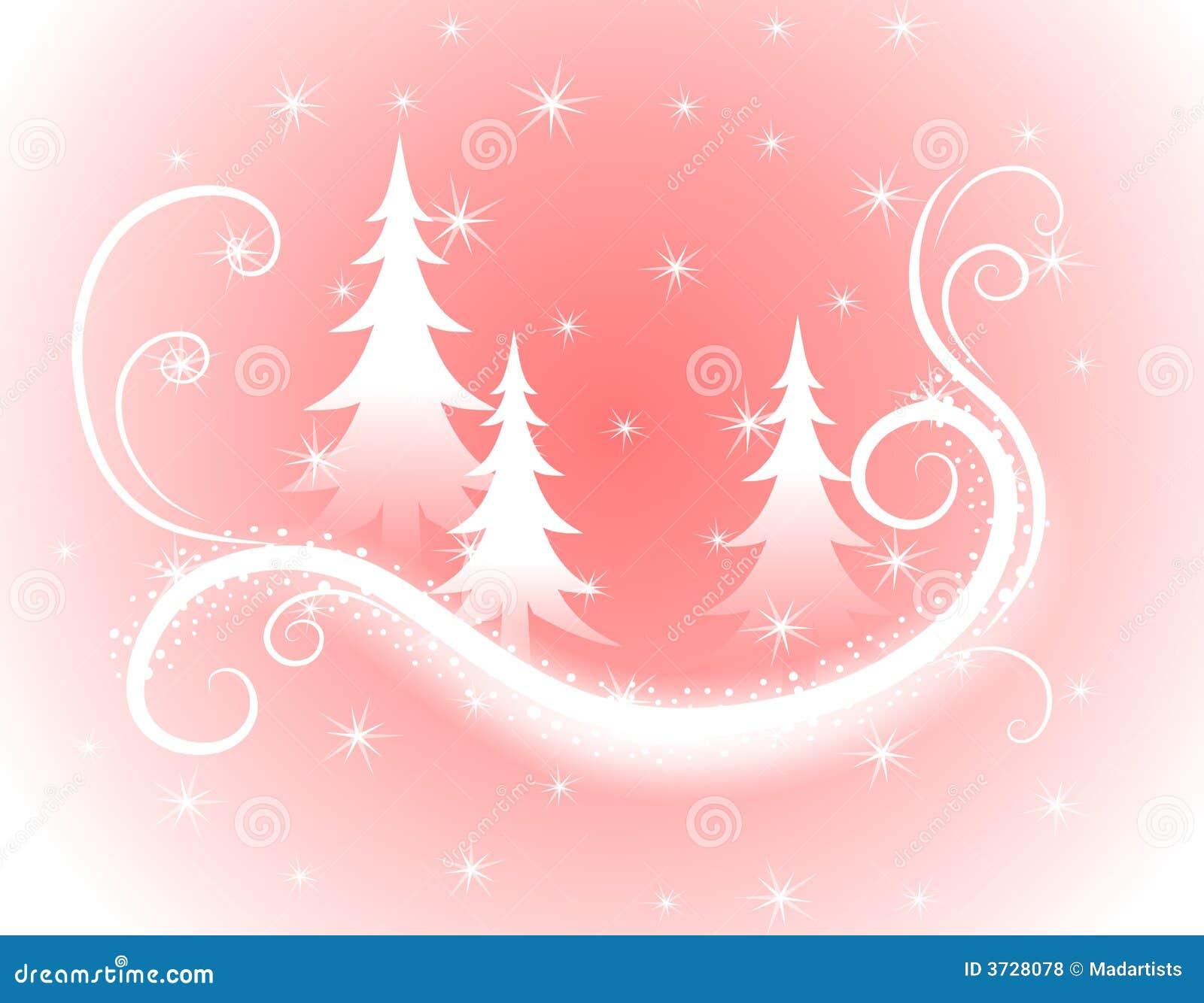 Dekorativer rosafarbener Weihnachtsbaum-Hintergrund