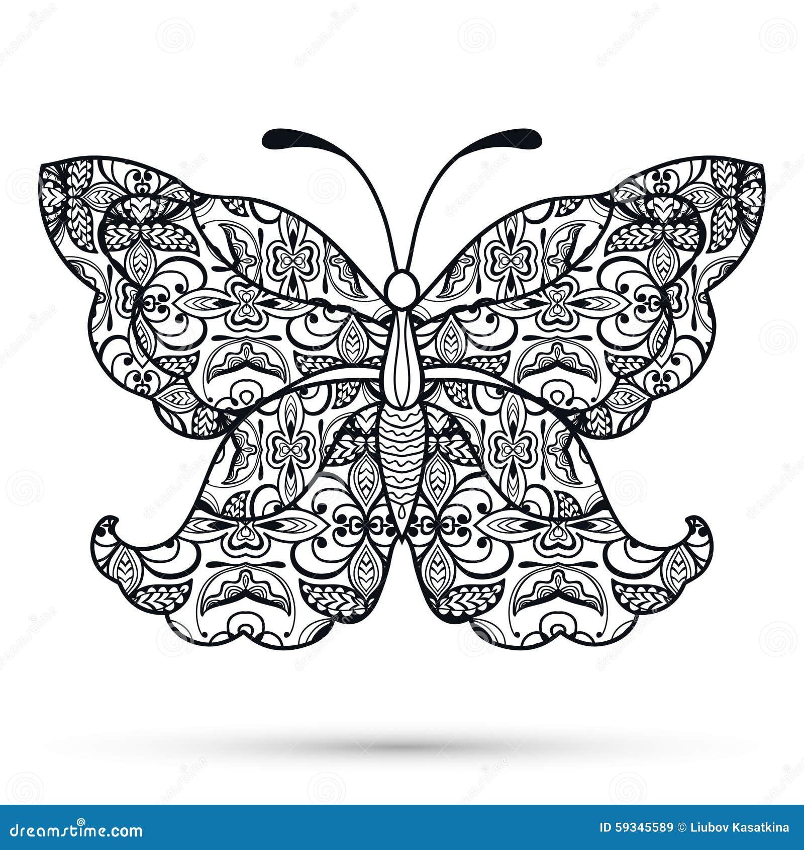 Dekorativer Schwarzweiss Schmetterling Hand Gezeichnet