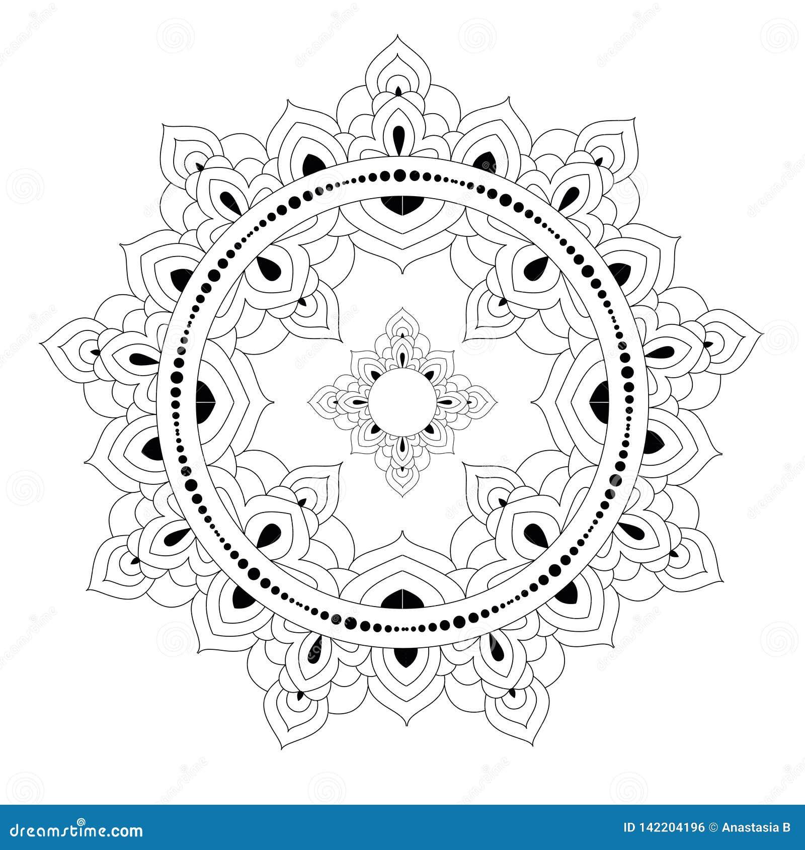 Dekoratives ethnisches Mandalamuster Anti-Druckmalbuchseite für Erwachsene Ungewöhnliche Blumenform Orientalischer Vektor