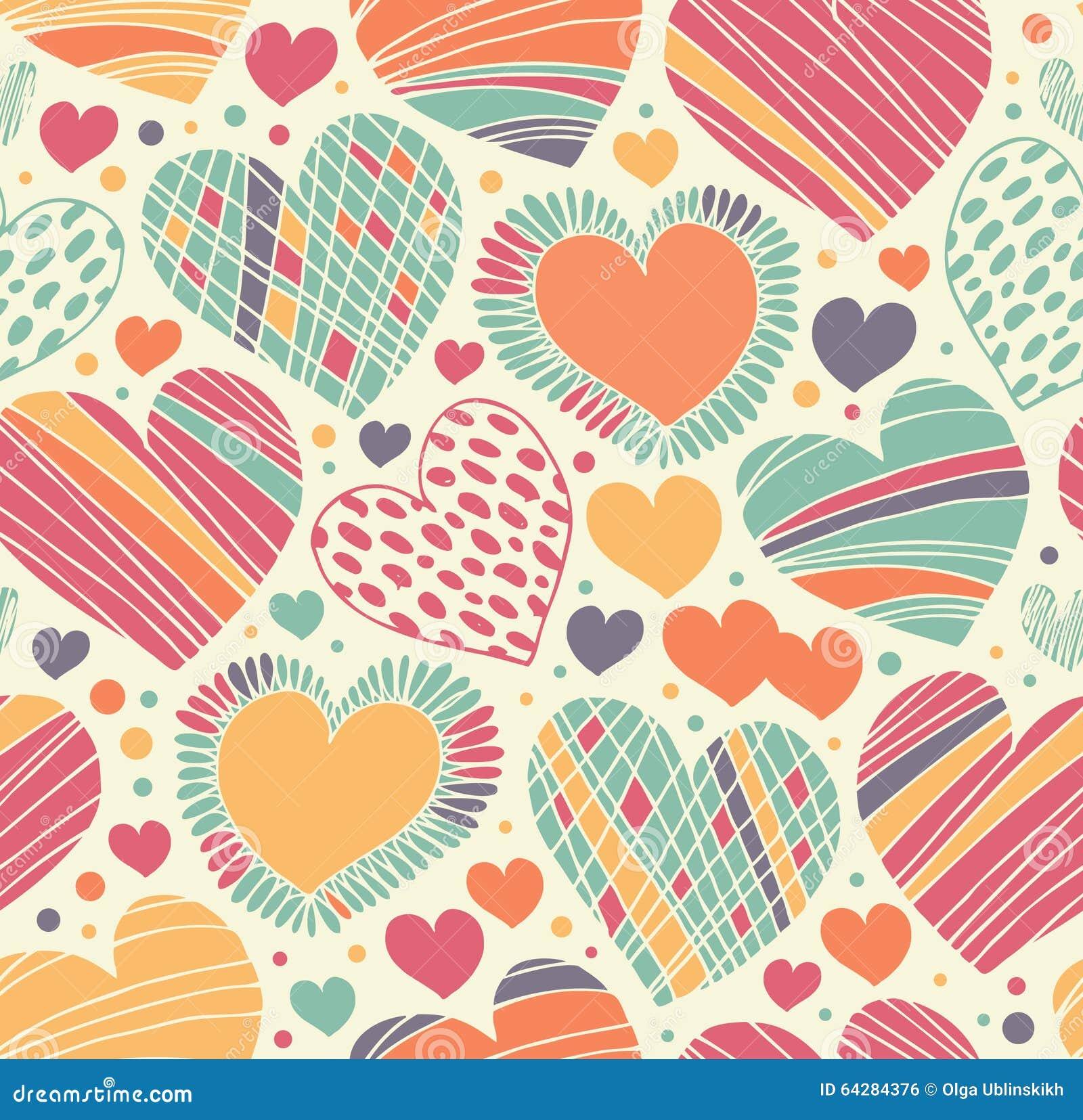 Dekoratives Muster der bunten Liebe mit Herzen Nahtloser Gekritzelhintergrund