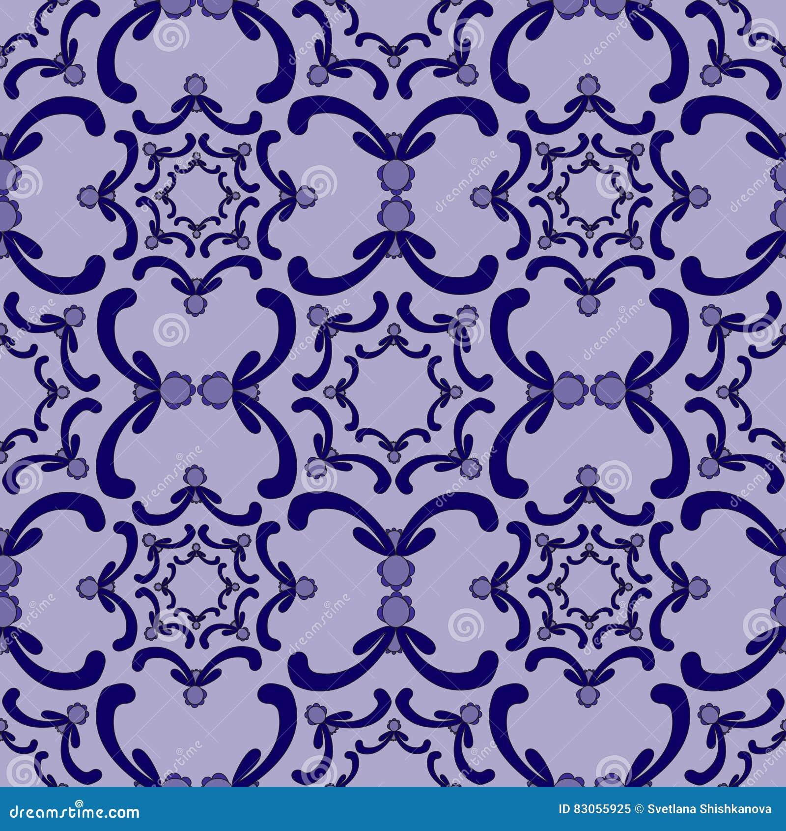 Dekoratives nahtloses Muster Gold lable Blaue Kurvenelemente