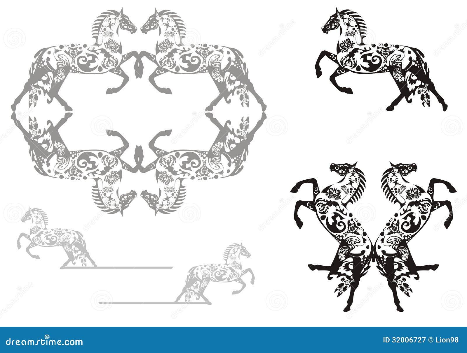 Dekoratives Pferd Und Pferderahmen Vektor Abbildung - Illustration ...