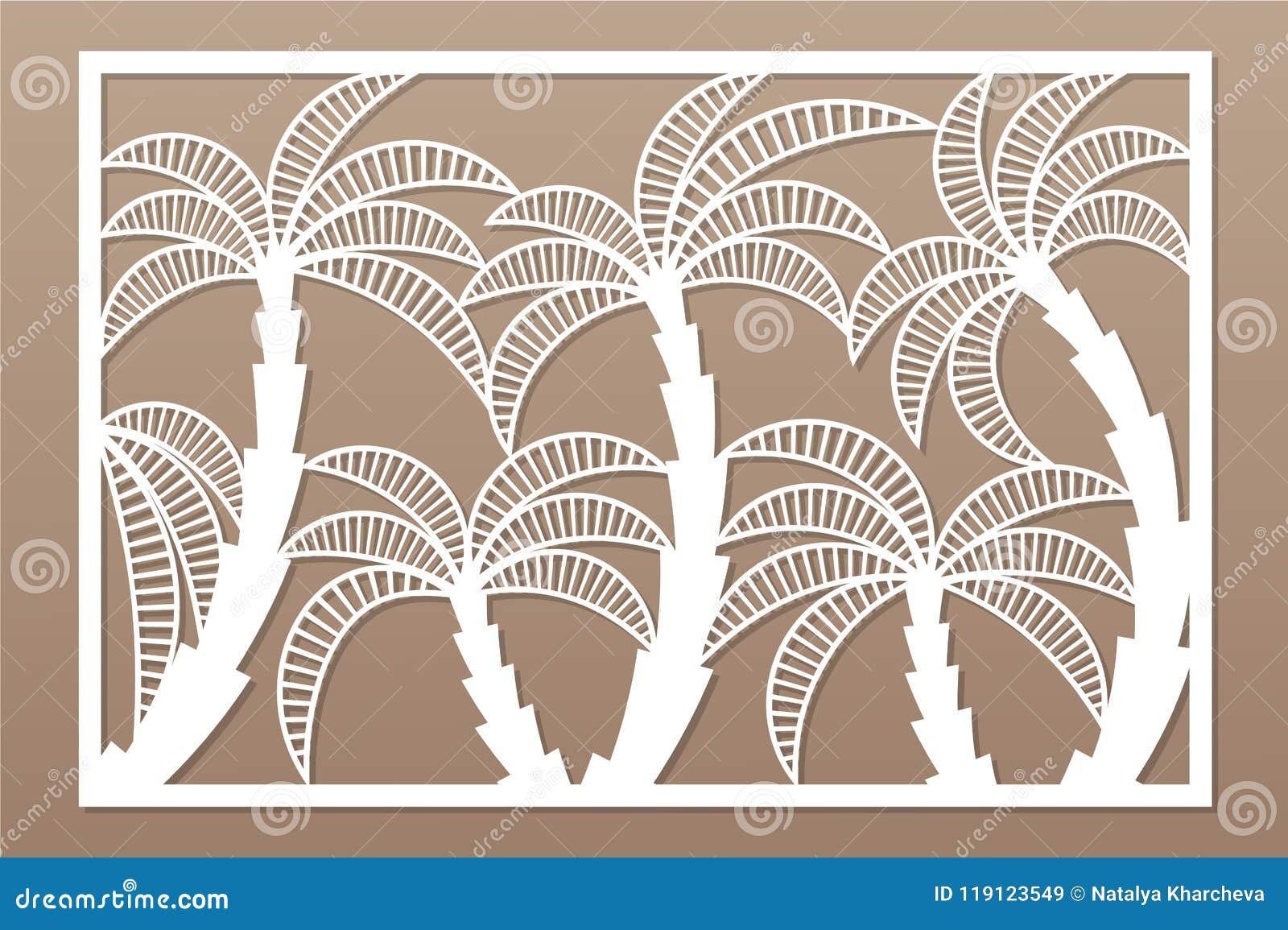 Dekorativt kort för att klippa Palmbladmodell Laser-snittpanel Förhållande2:3 också vektor för coreldrawillustration
