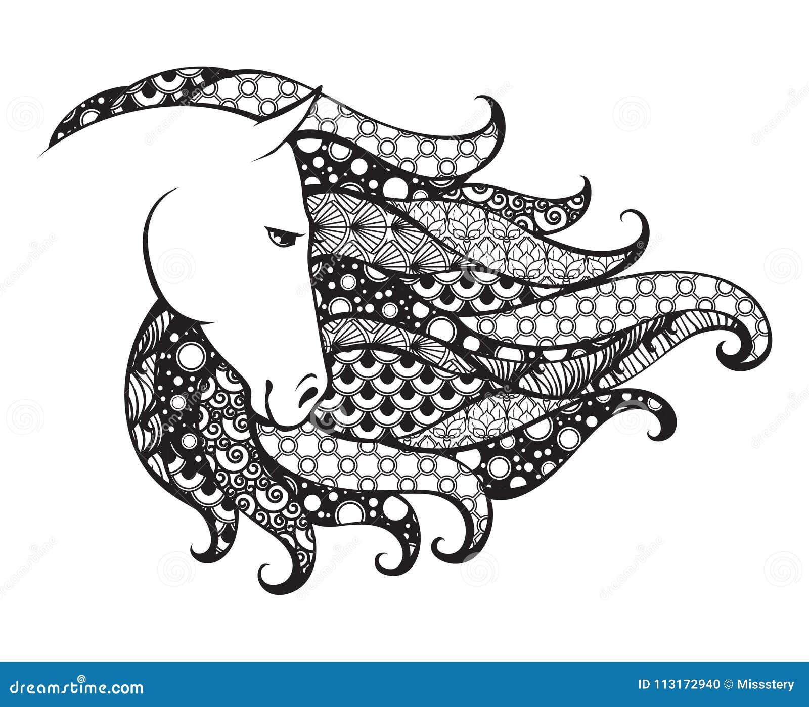 Dekorativt mönstrat huvud av hästen Illustration för Zentangle klottervektor Svartvitt diagram