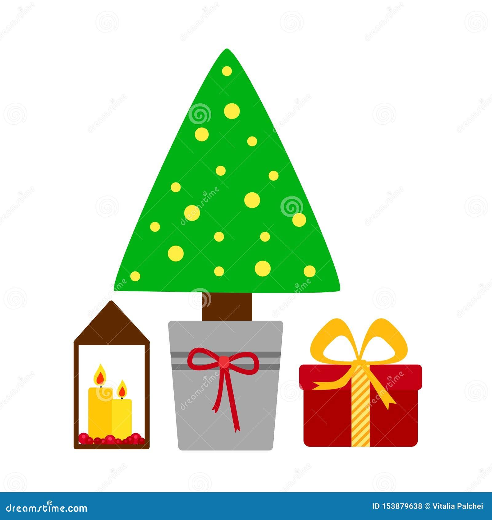Dekorerad julgran med gåvaaskar, stearinljusljus Glad jul och lyckligt nytt ?r