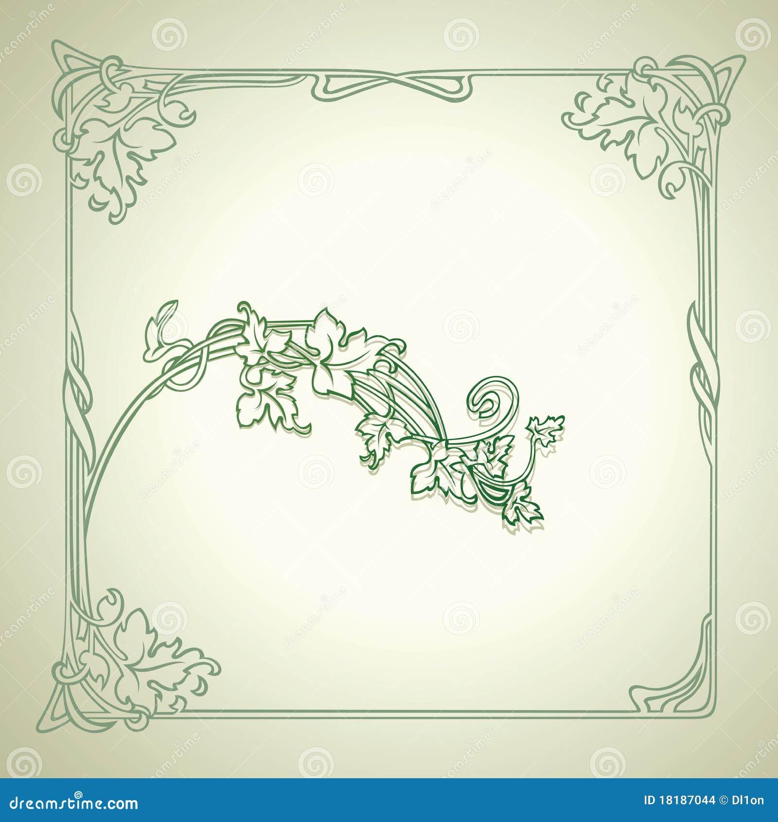 Dekoruje ramowego zieleni wektoru rocznika