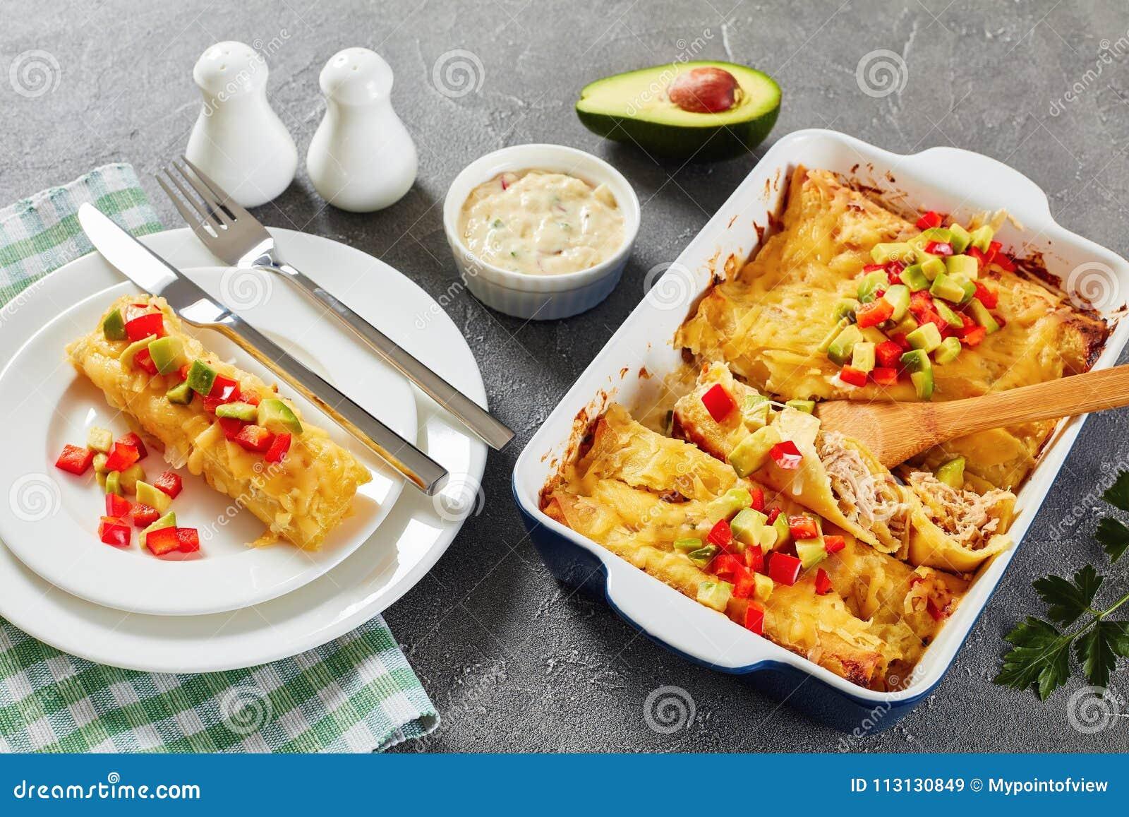 Del av enchiladaen på plattan