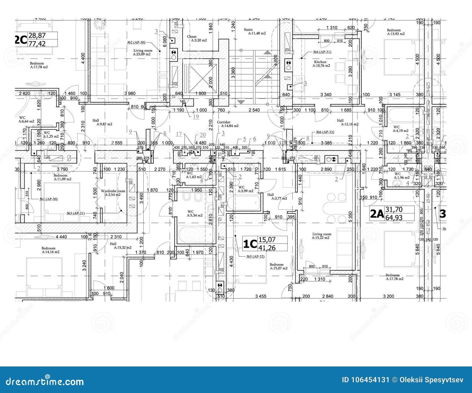 Del av ett detaljerat arkitektoniskt plan, golvplan, orientering, ritning vektor