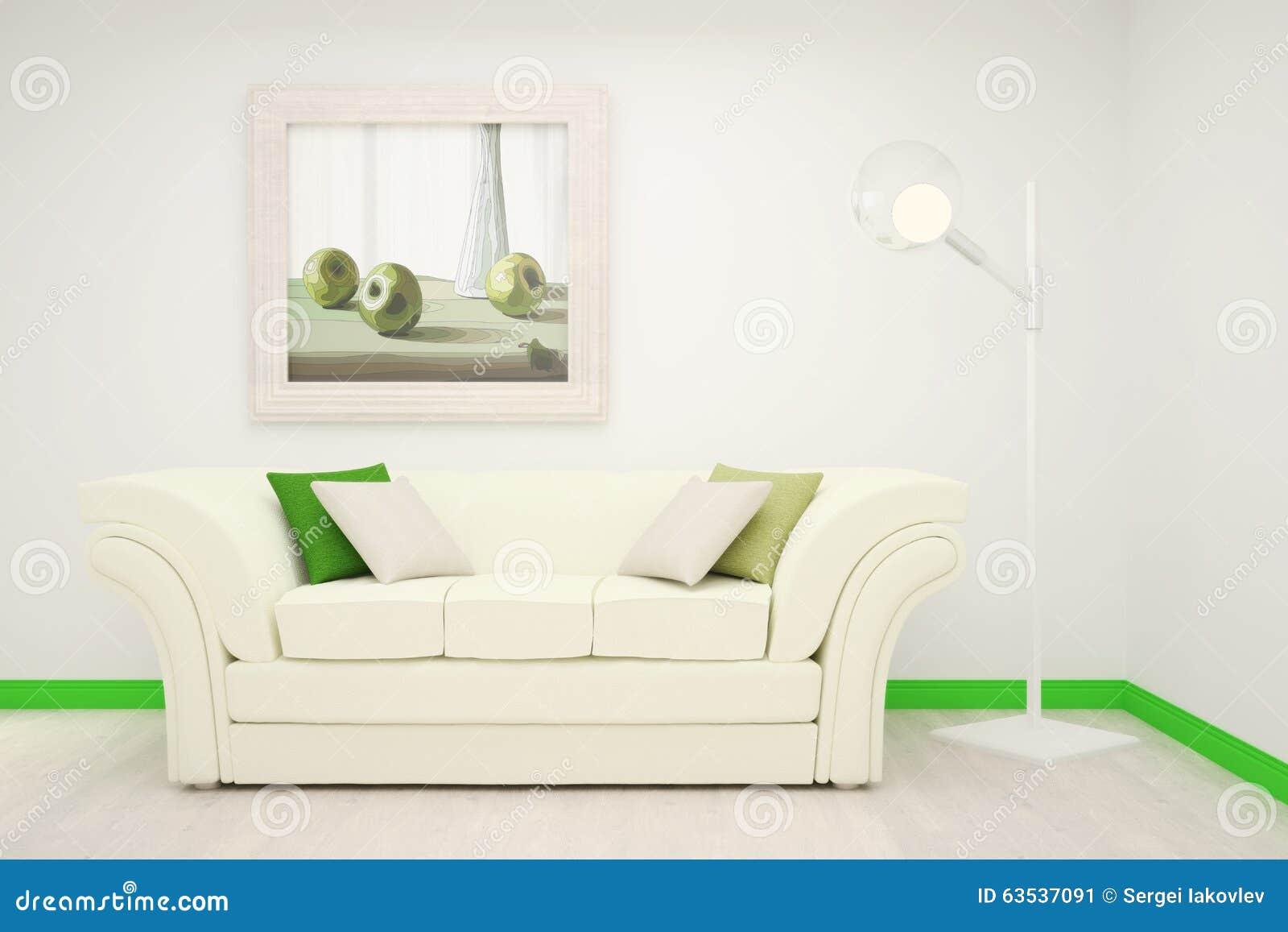 Del av inre av vardagsrummet i vita och gröna färger med en stor ...