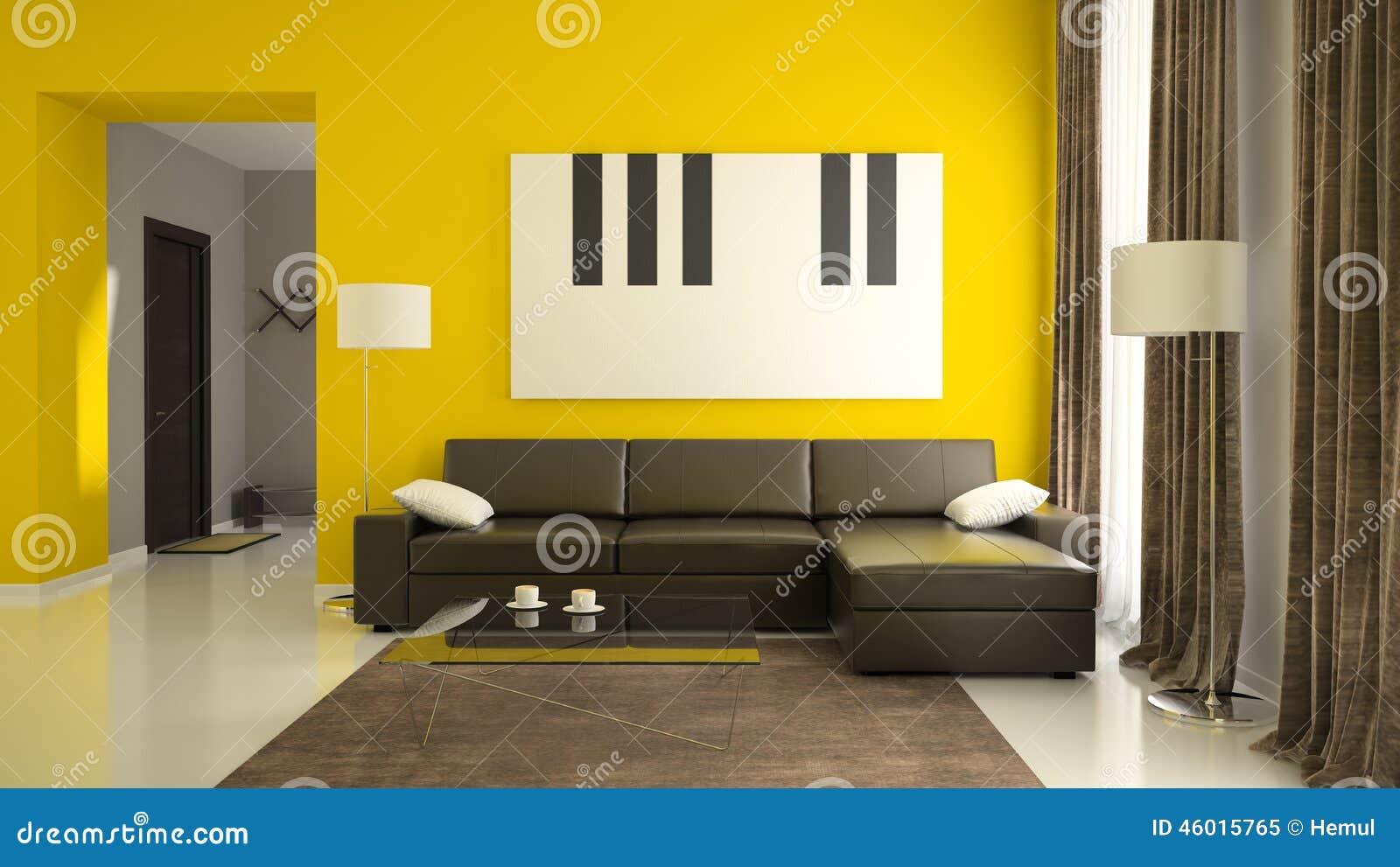 Del 1 av inre med gula v ggar fotografering f r bildbyr er bild av m lning objekt 46015765 - Pared cocina pintada ...