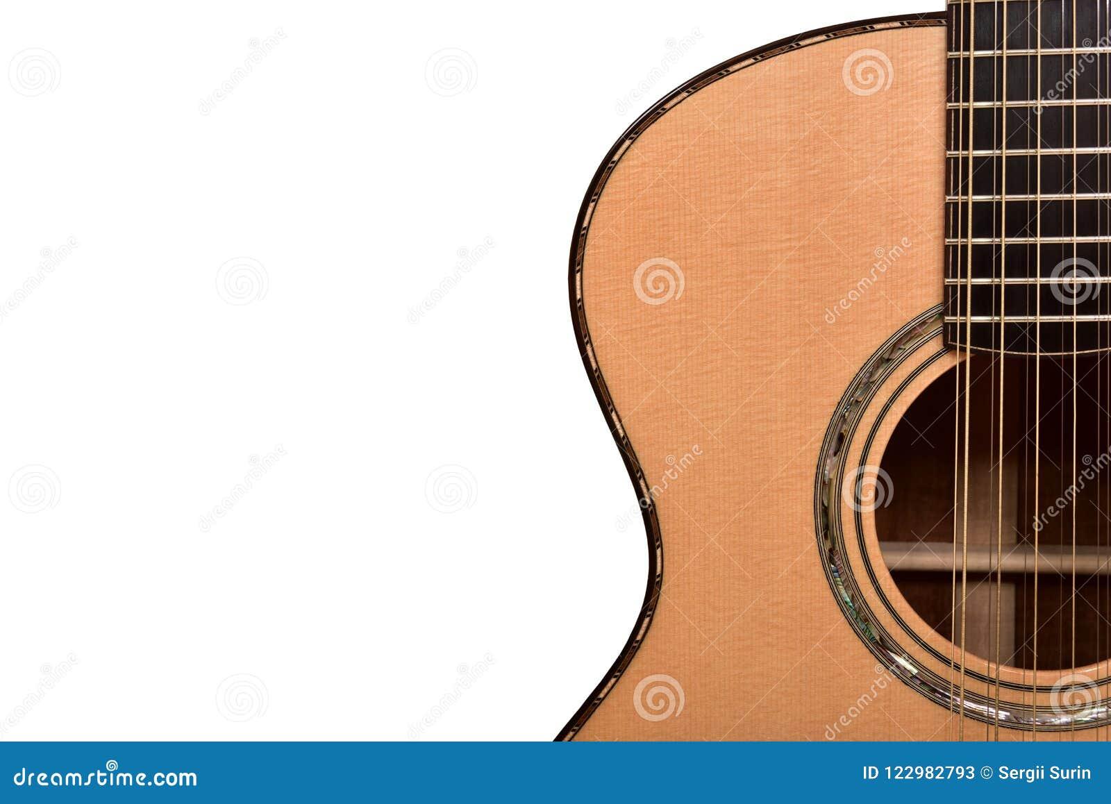 Del av rader för en akustisk gitarr tolv