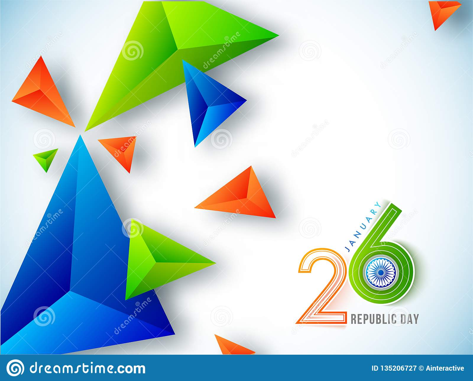 26 del concetto di celebrazione di gennaio con gli estratti geometrici 3d