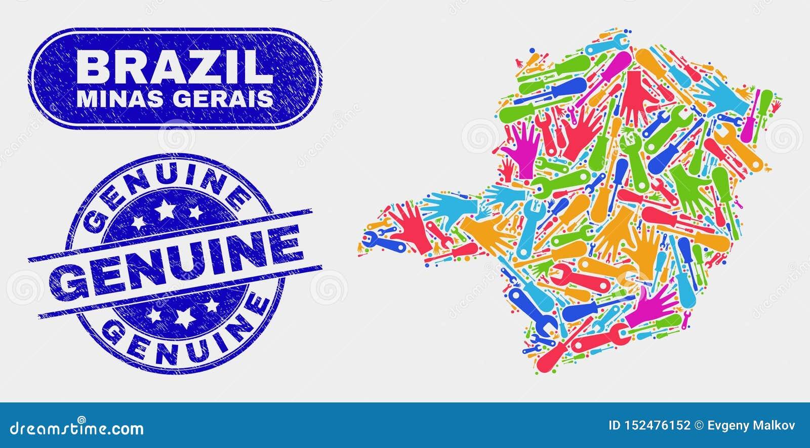 Del- Minas Gerais State Map och äkta vattenstämplar för Grunge