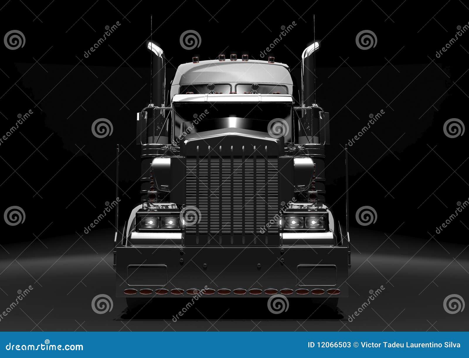 Del nero camion semi nello scuro