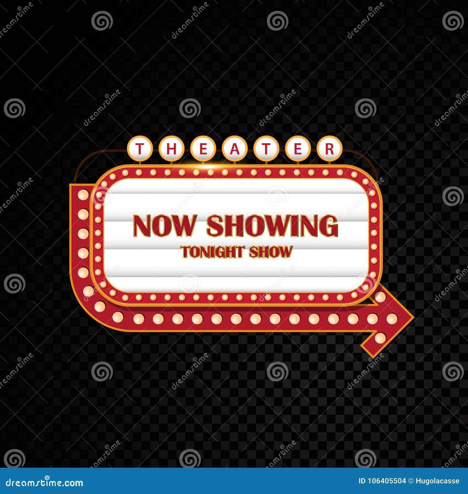 Del oro que brilla intensamente muestra de neón del motel del cine retro del teatro brillantemente