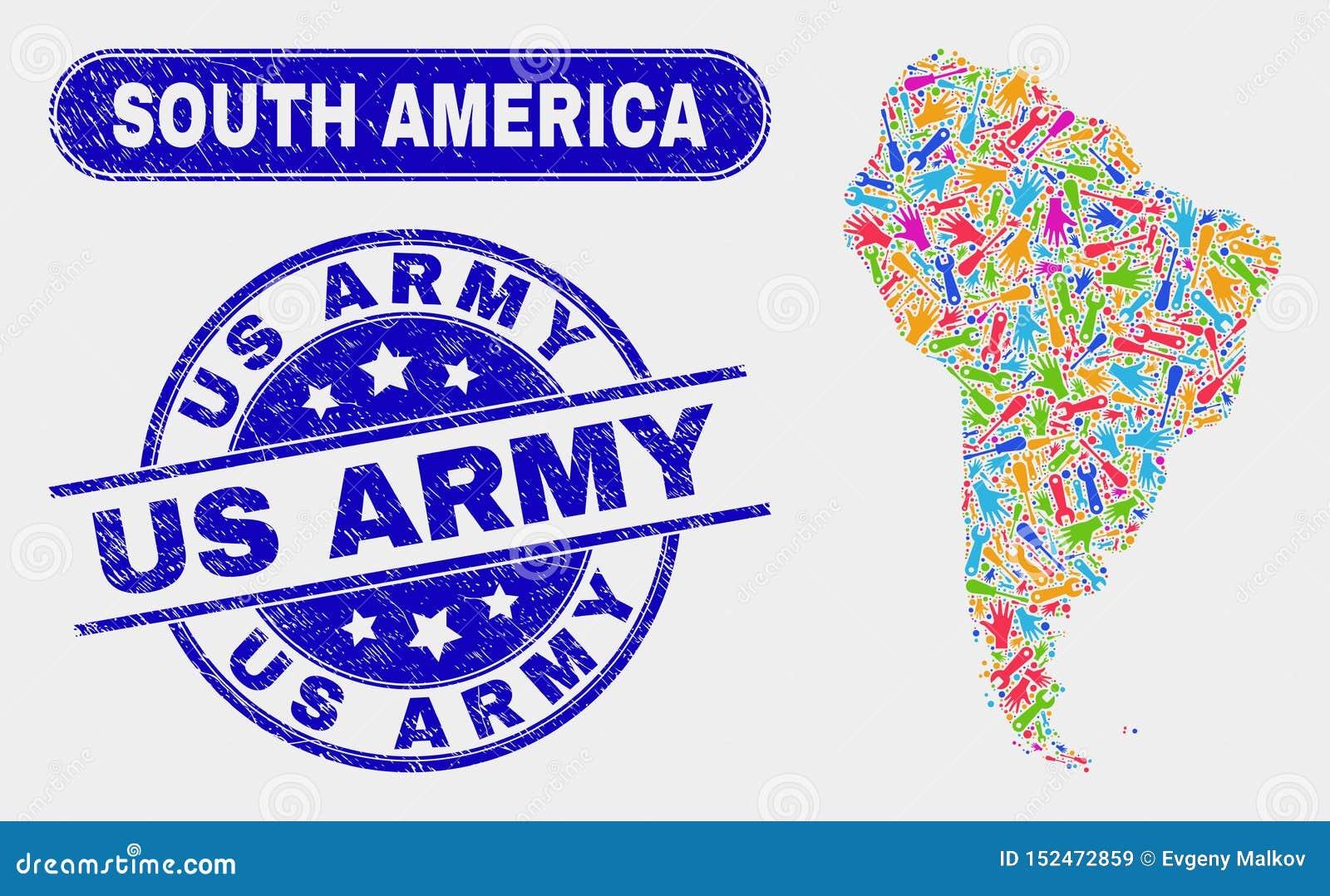 Del- Sydamerika översikt och Grunge oss arméstämplar
