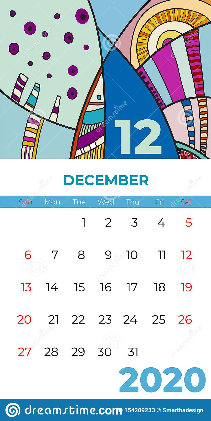 Del 2020 vector del arte contemporáneo del extracto del calendario de diciembre Escritorio, pantalla, mes de escritorio 12, 2020,