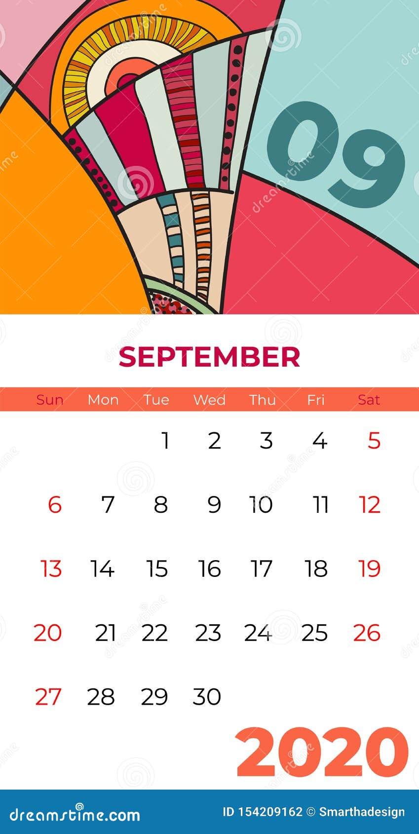 Del 2020 vector del arte contemporáneo del extracto del calendario de septiembre Escritorio, pantalla, mes de escritorio 09, 2020