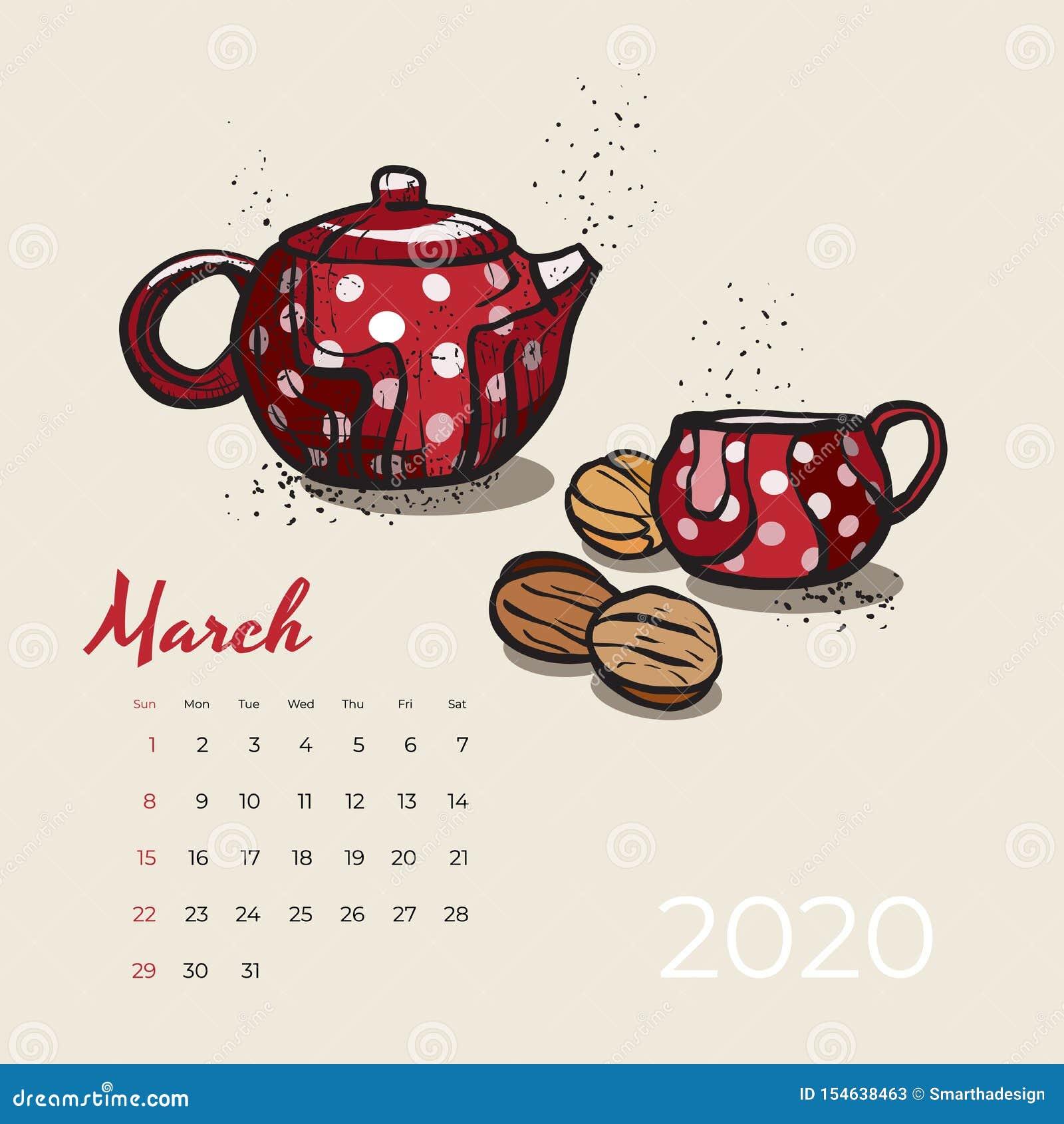 Del 2020 vector del arte de la comida y del té del calendario de marzo Calendario bosquejado fiesta del té Página de marzo con la