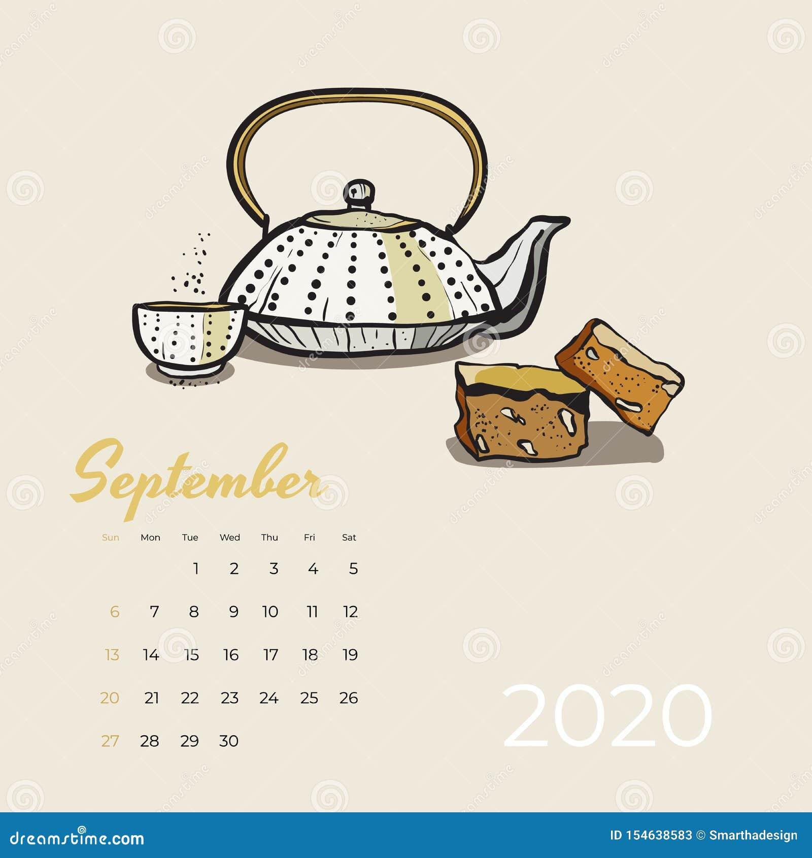 Del 2020 vector del arte de la comida y del té del calendario de septiembre Calendario bosquejado fiesta del té Tetera de la pági