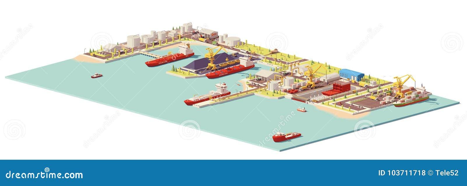 Del vector puerto comercial polivinílico bajo
