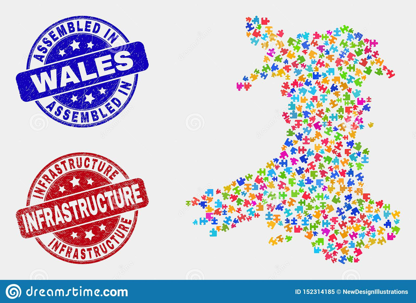 Del- Wales översikt och att bedröva monterade och infrastrukturskyddsremsor