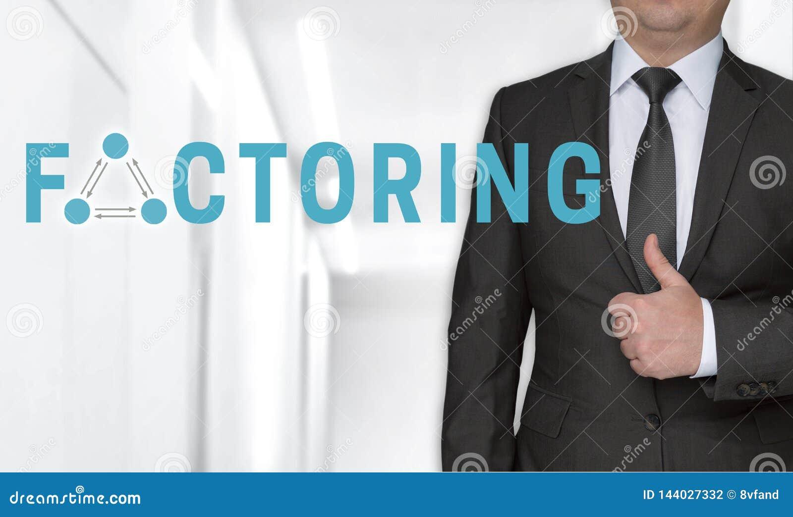 Dela upp i faktorer begrepp och affärsmannen med tummar upp