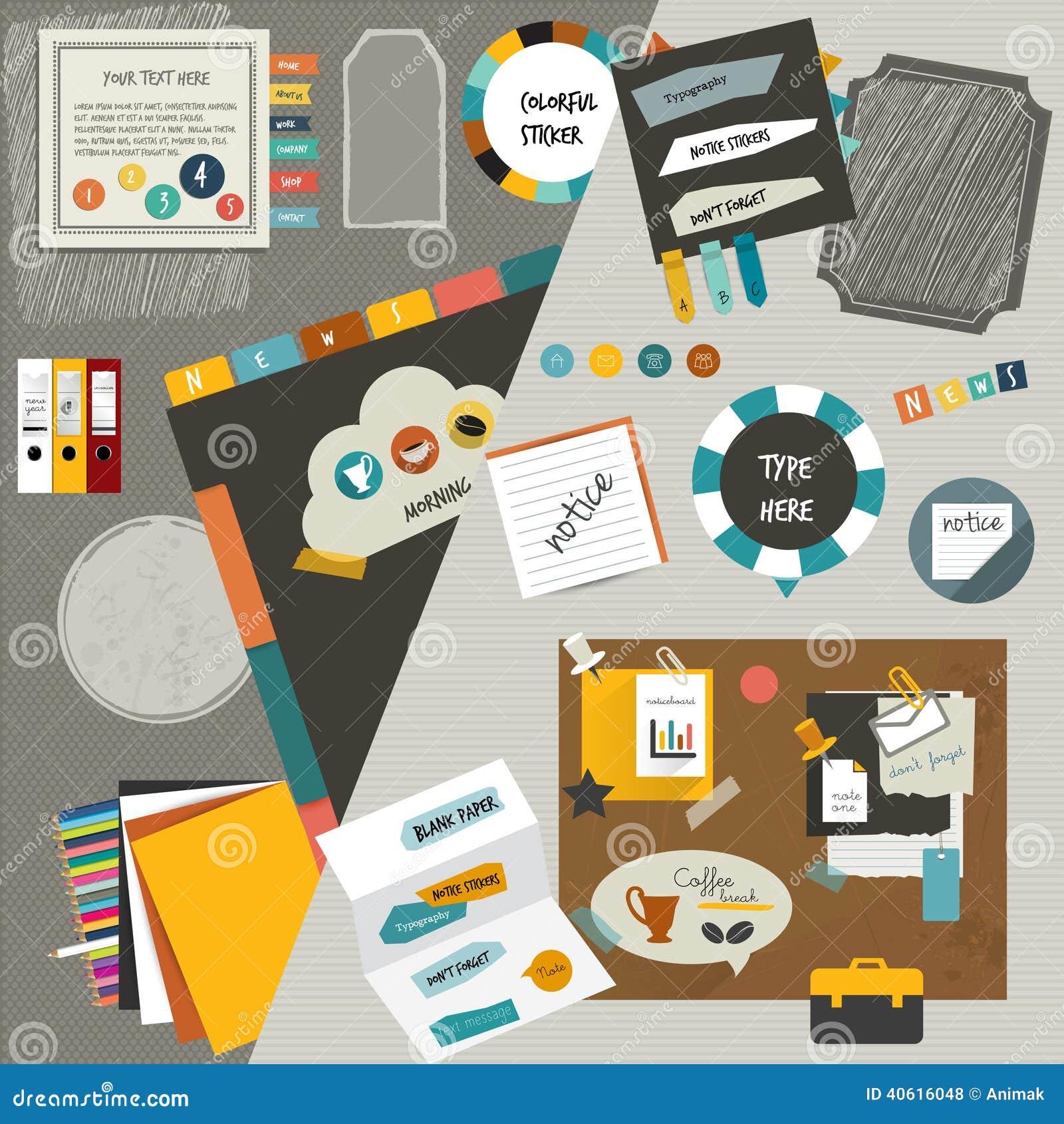 Delar för lägenhet för orientering för arbetskontorsrengöringsduk Färgrik grafisk mall Mappen klistermärken, grafen, fliken, data