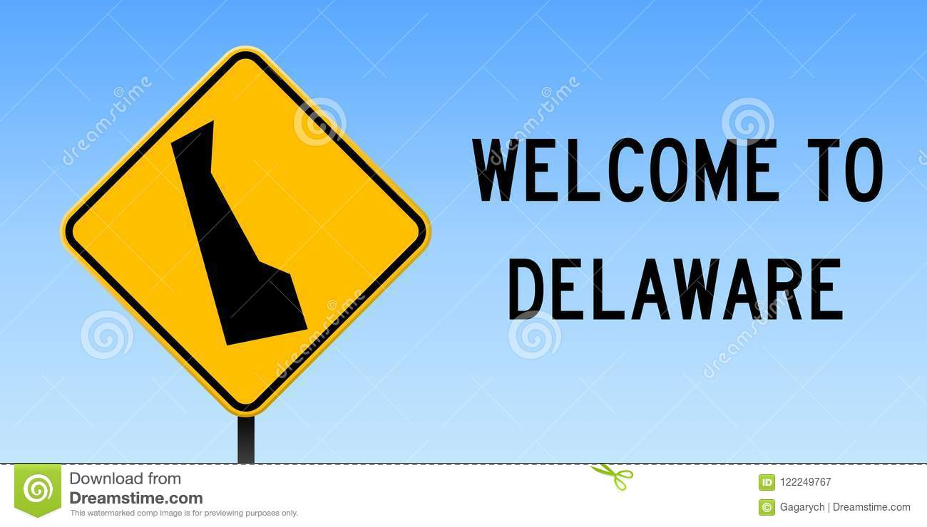 Delaware Traffic Map.Delaware Map On Road Sign Stock Vector Illustration Of Government