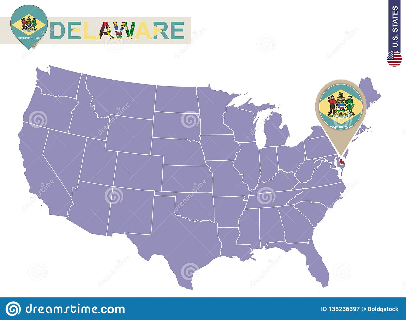 Delaware State On USA Map. Delaware Flag And Map Stock Vector ... on
