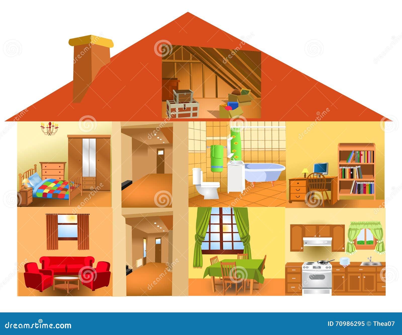 Delen van het huis vector illustratie afbeelding 70986295 - Huis van de wereldbank ...