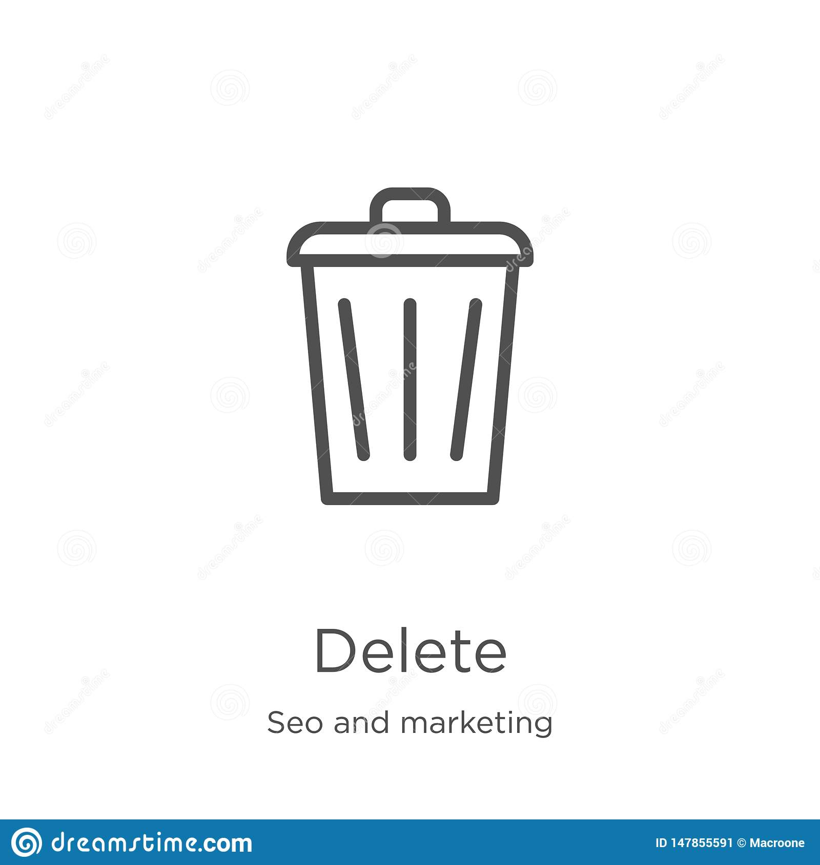 delete icon vector from seo and marketing collection. Thin line delete outline icon vector illustration. Outline, thin line delete