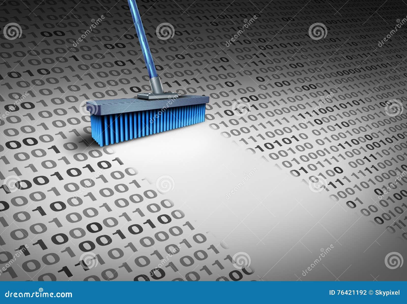 Deleting Data stock illustration. Illustration of broom ...